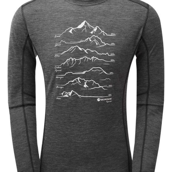 Montane 7 summits design long sleeve T shirt in Primino merino Primaloft mix